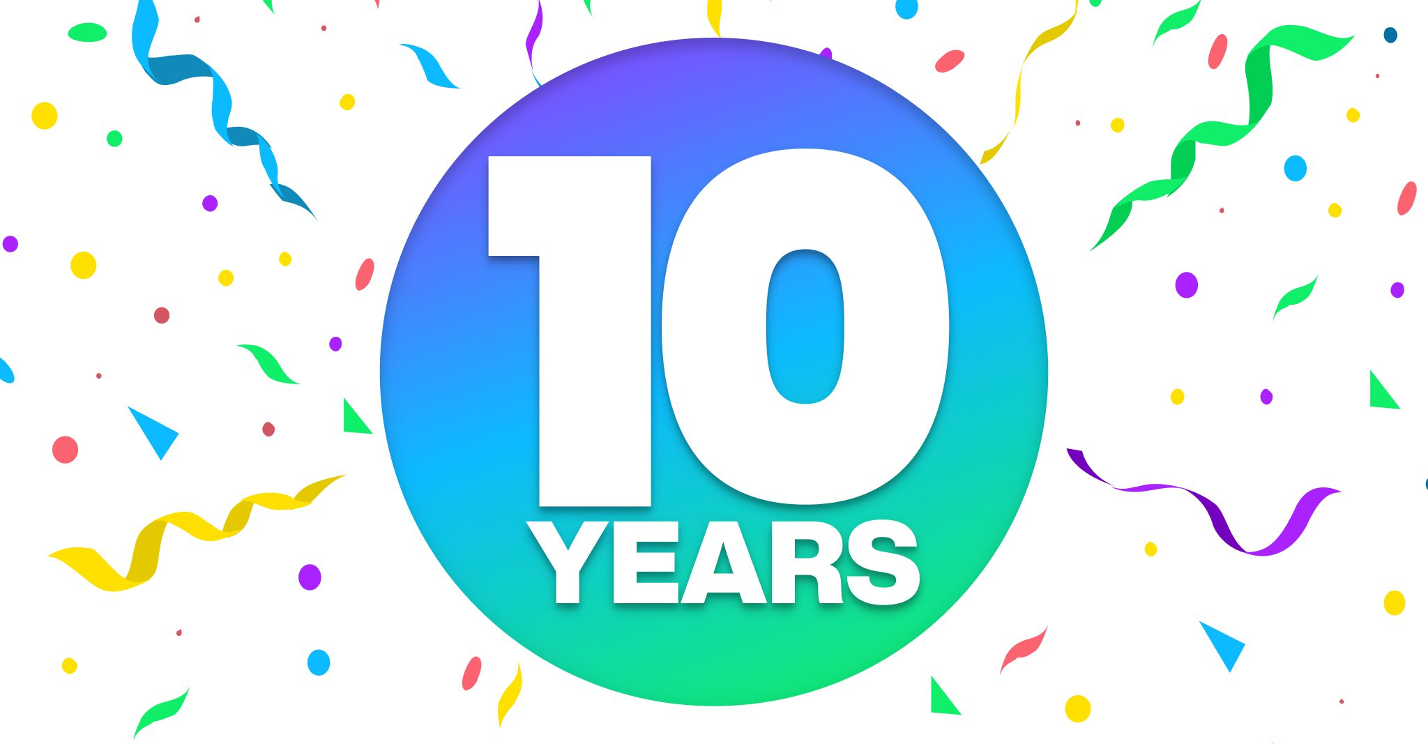 10 years of LifeStreet with confetti