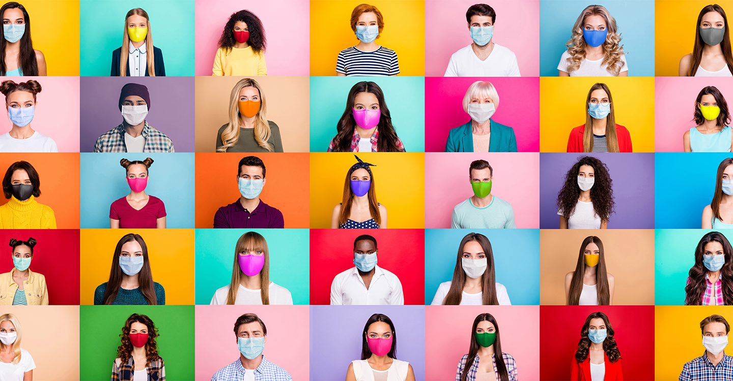 Colorful images collaged together of people wearing masks because of Covid-19