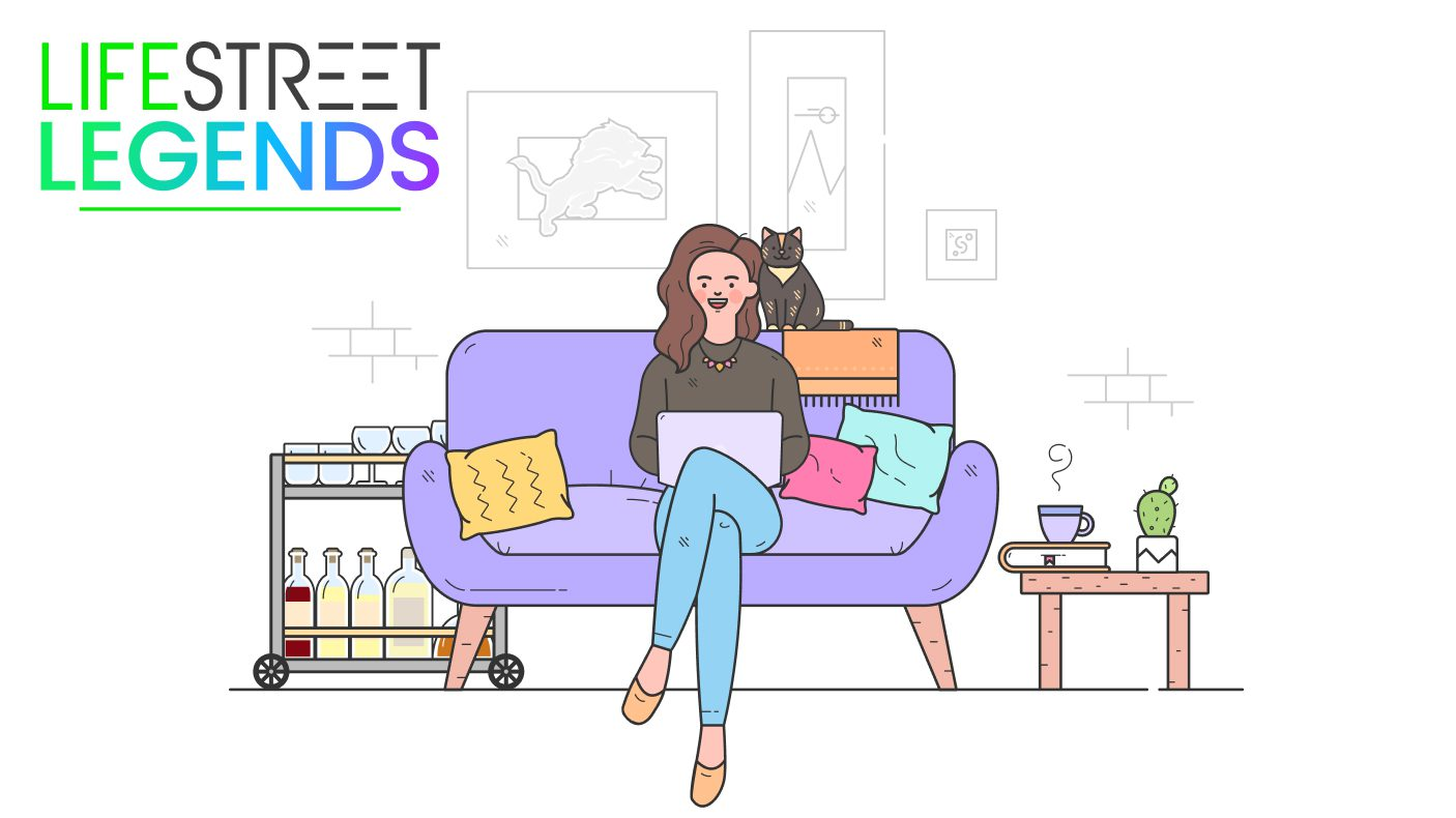 LifeStreet Legends cartoon drawing of Jess, a woman on a couch while on her laptop with her cat next to her