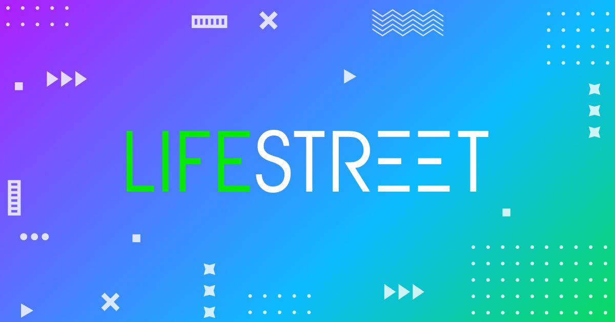 Purple to blue to green gradient going from left to right diagonally with the LifeStreet Logo in the center