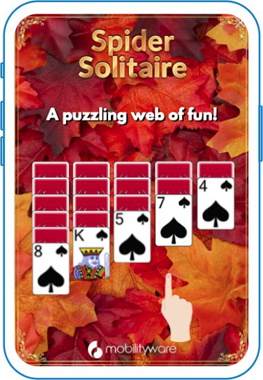Spider solitaire game with fall foliage creative background