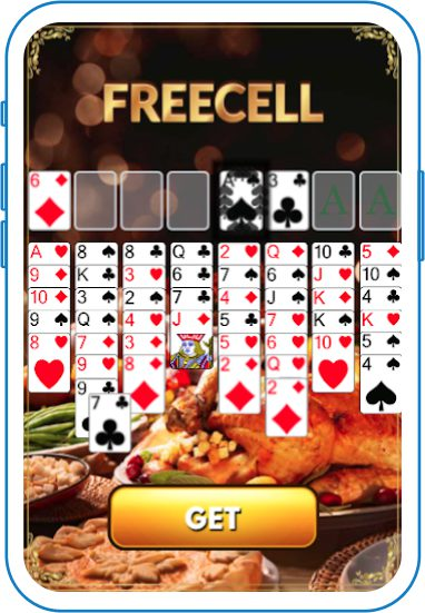 Freecell solitaire with Thanksgiving meal