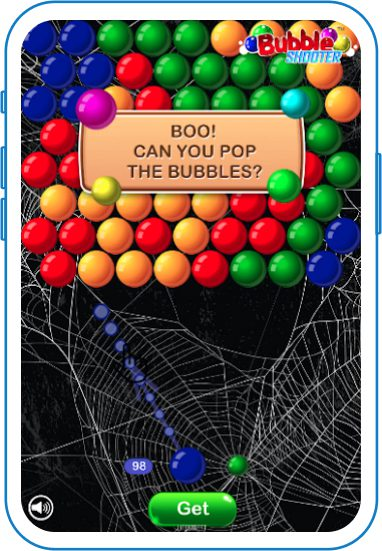 Cobwebs on bubble pop game
